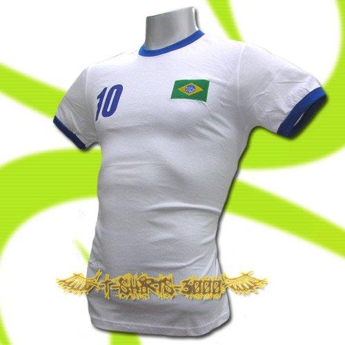 BRAZIL WHITE BRASIL #10 COOL T SHIRT SOCCER Size M / L90