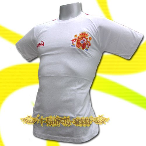 SPAIN WHITE ESPANA FOOTBALL T SHIRT SOCCER SIZE L / M01