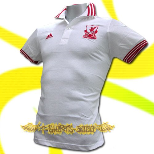 LIVERPOOL WHITE FOOTBALL POLO SHIRT SOCCER Size L / M25