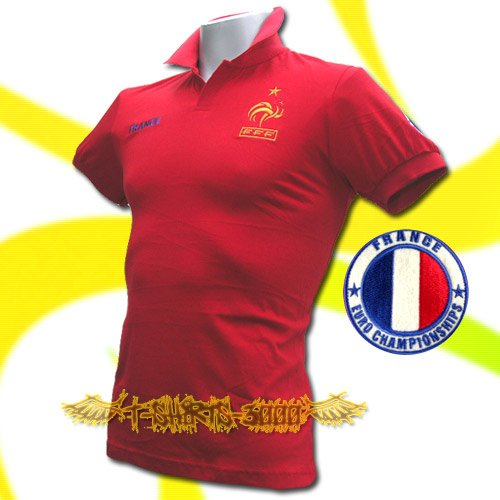 FRANCE RED FOOTBALL POLO T-SHIRT SOCCER SIZE M / M36