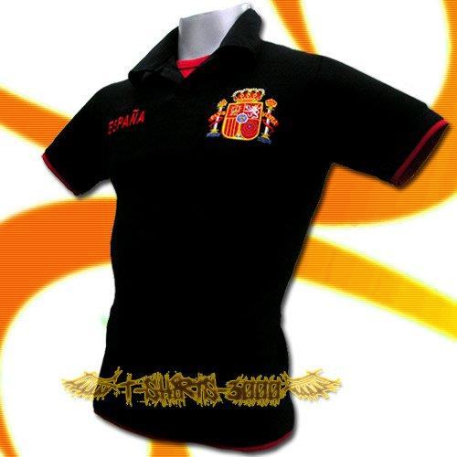 SPAIN BLACK ESPANA FOOTBALL POLO T-SHIRT SOCCER  Size M / M71