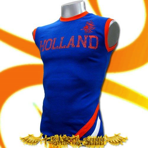 HOLLAND BLUE SLEEVELESS FOOTBALL T-SHIRT SOCCER Size M / K99