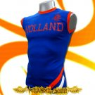 HOLLAND BLUE SLEEVELESS FOOTBALL T-SHIRT SOCCER Size M / K99