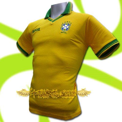 BRAZIL YELLOW BRASIL FOOTBALL POLO T SHIRT SOCCER Size M / K36