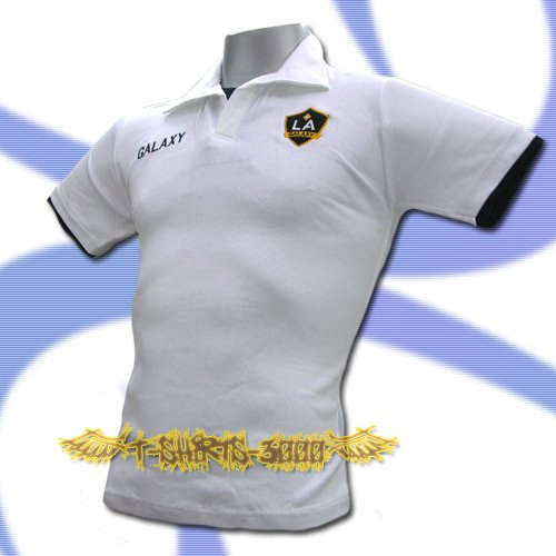 LA GALAXY WHITE FOOTBALL POLO T SHIRT SOCCER Size M / K40