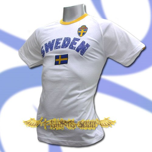 SWEDEN WHITE FOOTBALL TEE T SHIRT SOCCER Size L / L69