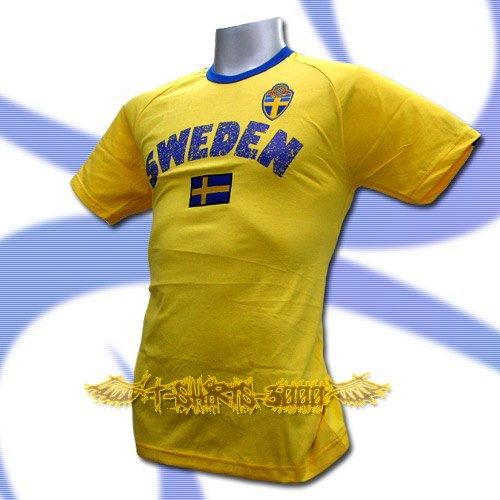 SWEDEN YELLOW FOOTBALL TEE T SHIRT SOCCER Size L / L70