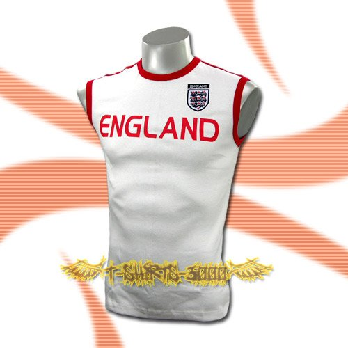 ENGLAND WHITE SLEEVELESS SOCCER T SHIRT FOOTBALL Size M / A69