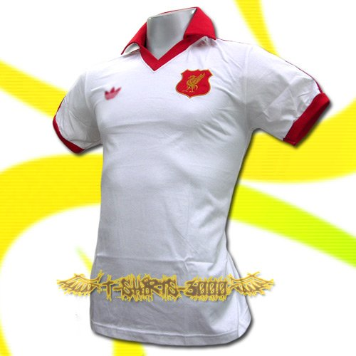 LIVERPOOL WHITE FOOTBALL RETRO POLO T SHIRT SOCCER Size M / K19