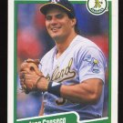 Jose Canseco 1990 Fleer # 3 Outfield Oakland Athletics