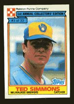 Ted Simmons 1984 Ralston Purina # 3 Catcher Milwaukee Brewers