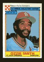 Ozie Smith 1984 Ralston Purina # 2 Shortstop St. Louis Cardinals