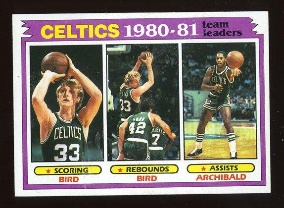 Celtics Team Leaders Bird Archibald 1981-82 Topps # 45