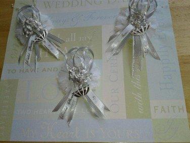 12 Bridal Shower Corsages/ Capias Silver