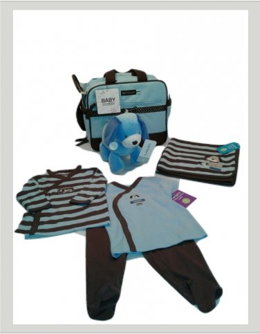 Carter's Blue 3 Months Doggie 3 Piece Layette Diaper Bag Set