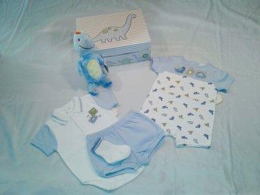 First Moments Baby Boy Dinosaur Clothing Gift Box Set