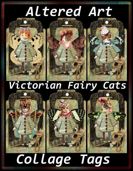 Victorian Fairy Cats Collage Tags - Digital Download ONLY