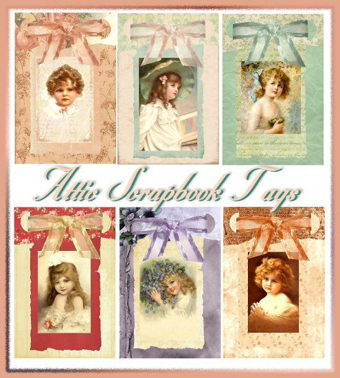 Attic Scrapbook Tags Set One - Digital Download ONLY