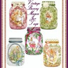 Vintage Easter Bunny Mason Jar Tags - Digital Download ONLY