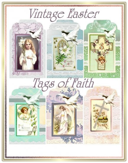 Altered Art Vintage Easter Tags of Faith - Digital Download ONLY