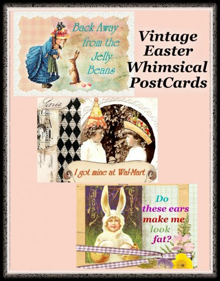 Vintage Easter Whimsical PostCard Project with Directions DIGITAL DOWNLOAD ONLY