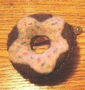 SO CUTE! DIY One Pair of Donut Doughnut Felt Barrettes Chocolate w/Pink Icing !!
