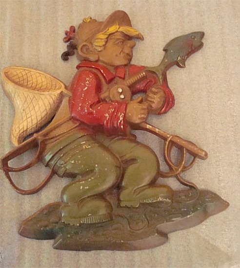 "Vintage 1970 Sexton Cast Iron ""Boy Fisherman"" Wall plaque Fishing Home Decor FREE SHIPPING"