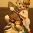 Young Boy playing Violin / Fiddle Vintage Occupied Japan Figurine