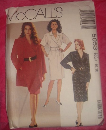 McCall's Pattern 5053  Misses Lined fitted Jacket,Dress and Belt Uncut size 16,18