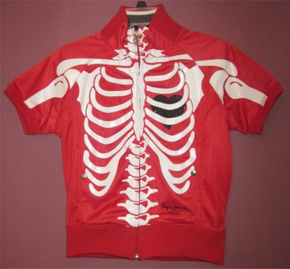Red Pepe Rib Cage W Black Heart Track Jacket Punk Rock