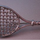 Signed Monet Large Tennis Racket Pin (Silver Tone)