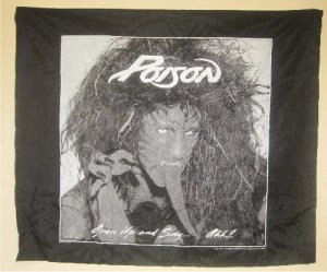 POISON -Open Up and Say Ahh Silk Banner Wall BANNED Art Tapestry (80s Glam Rock Metal,Bret Michaels)