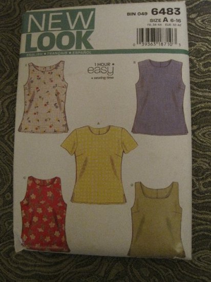 New Look 6483 Misses 1Hour EASY Summer Tops Sleeveless & Short Sleeved Pattern Size 6-16 Uncut