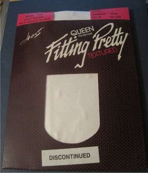 Hanes Queen Pantyhose Fitting Pretty Textured *Double Diamond* WHITE Size 4X (Discontinued)