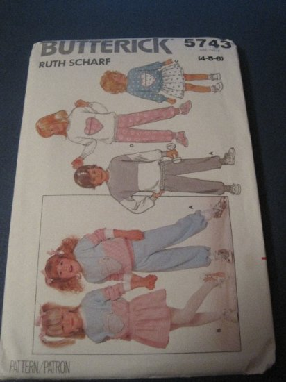 Butterick 5743 Vintage Sewing Pattern Toddlers/Childrens Adorable! Dress Top & Pants