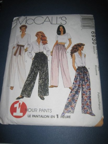 McCall's Sewing pattern 6930 Misses Pants 1Hour Pull On pants Straight or Wide Leg 12,14