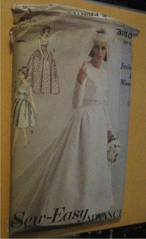 60s Vintage Advance Sewing Pattern 3150 Wedding Dress Bridal Gown
