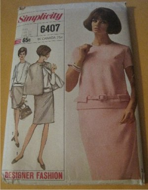 Vintage 60's Misses Two Piece Dress and Cape  Simplicity 6407 Sewing Pattern Size 14