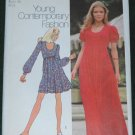 Vintage 70's Simplicity pattern Misses Dress two Lengths Size 12 Bust 34