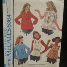 Vintage Sewing Pattern McCalls #5364 Girls set of blouses Size Large Uncut