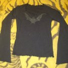 Black Glitter BAT Long wing Sleeve Top Womans Size Small -Goth/Gothic FREE SHIPPING