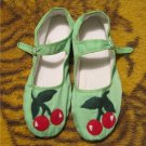 Cherries- Mary Janes Bright Green Cherry Flats Womans Size 9 Shoes OOAK