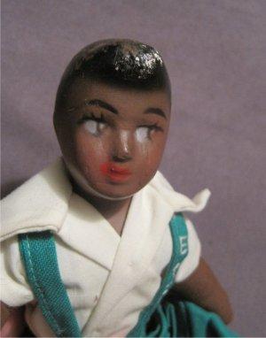 Vintage Black Girl Antique Sawdust Straw Doll  BLACK AMERICANA