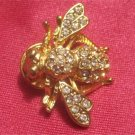 Vintage Gorgeous  Rhinestone BEE Pin (Gold Tone)