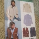 Simplicity New Look 6417, Mens Shirt and Lined Vest, Size XS - XL
