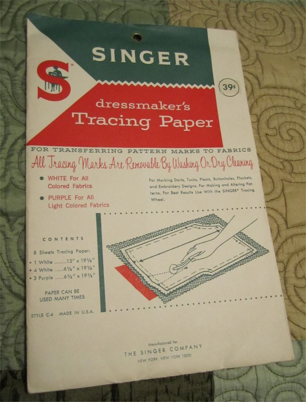Vintage Original Singer dressmaker's Tracing Paper Sealed 1940's/50s (sewing)