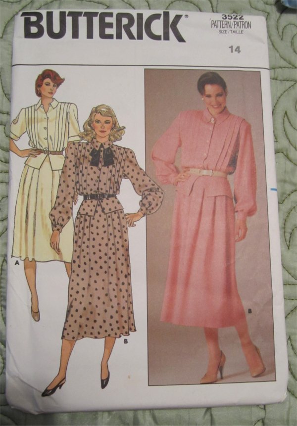 Butterick Pattern 3522 Misses Top Loose Fit Blouson And
