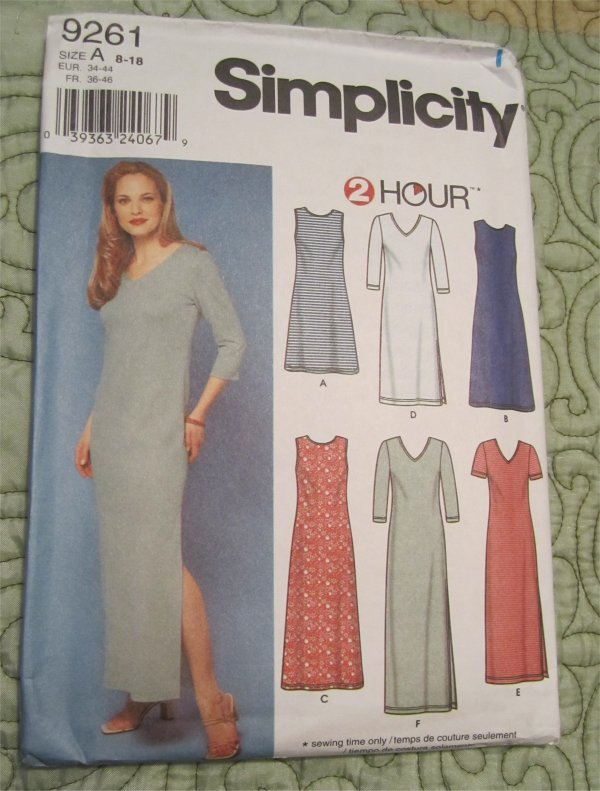 Simplicity Pattern 9261 2 Hour Pull Over Knit Fitted Sleeveless / Short Sleeve Pullover Dress