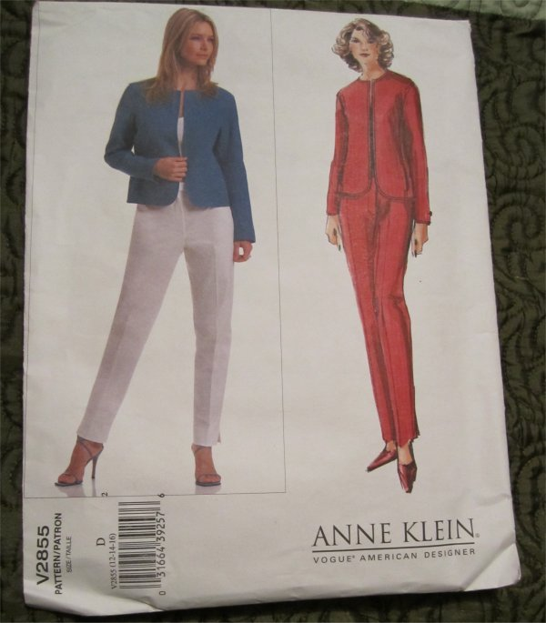 Vogue Pattern Anne Klein Semi Fitted Jacket and Pants V2855 12-16