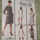 Simplicity 3744 Threads Collection Misses Dresses Sleeve/Sleeveless Different Lengths Sz.14-22 Uncut